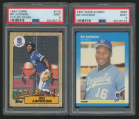 Lot of (2) PSA Graded Bo Jackson Baseball Cards with 1987 Topps #170 (PSA 9) & 1987 Fleer Glossy #369 RC (PSA 9) at PristineAuction.com
