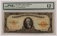 Star Note - 1922 $10 Ten-Dollar U.S. Gold Certificate Large-Size Bank Note (PMG 12, NET) at PristineAuction.com