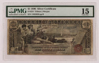 """1896 $1 One-Dollar """"Educational Series"""" U.S. Red Seal Silver Certificate Large-Size Bank Note (PMG 15) at PristineAuction.com"""
