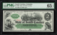1866 $2 Two-Dollars - South Carolina - Columbia - Bank Note Bill (PMG 65) (EPQ) at PristineAuction.com
