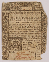 1780 One Shilling & Three-Pence - Connecticut - Colonial Currency Note at PristineAuction.com