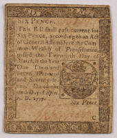 1777 6p Six Pence - Pennsylvania - Colonial Currency Note at PristineAuction.com