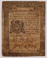 1776 18p Eighteen Pence - Pennsylvania - Colonial Currency Note at PristineAuction.com