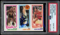 Larry Bird Signed 1980-81 Topps #49 146 Junior Bridgeman / 31 Larry Bird / 198 Ron Brewer RC (PSA Encapsulated) at PristineAuction.com