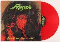 "Poison ""Open Up and Say... Ahh!"" Vinyl Record Album Cover Band-Signed by (4) with Bret Michaels, Rikki Rockett, C.C. DeVille & Bobby Dall (JSA ALOA) at PristineAuction.com"