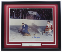 Gordie Howe Signed Red Wings 22x27 Custom Framed Photo Display (PSA COA) at PristineAuction.com