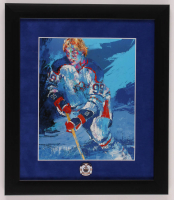 """LeRoy Neiman """"Wayne Gretzky"""" 13x15 Custom Framed Print Display with Oilers Pin at PristineAuction.com"""