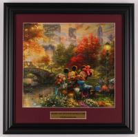 "Thomas Kinkade Walt Disney's ""Mickey & Minnie Mouse in Central Park"" 16.5x16.5 Custom Framed Print Display at PristineAuction.com"