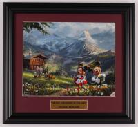 "Thomas Kinkade Walt Disney's ""Mickey & Minnie Mouse in The Alps"" 15x16.5 Custom Framed Print Display at PristineAuction.com"