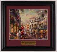 "Thomas Kinkade Walt Disney's ""Mickey & Minnie Mouse in Beverly Hills"" 15x16.5 Custom Framed Print Display at PristineAuction.com"