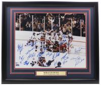 1980 Team USA 22x27 Custom Framed Photo Display Signed by (13) With Victor Hedman, Yanni Gourde, Andrei Vasilevskiy, Mikhail Sergachev (Beckett LOA) at PristineAuction.com