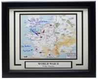 World War II D-Day Map 11x14 Custom Framed Photo Display Signed by (5) With Victor Hedman, Yanni Gourde, Andrei Vasilevskiy, Mikhail Sergachev (PSA LOA) at PristineAuction.com