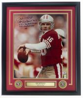 Joe Montana Signed 49ers 22x27 Custom Framed Photo Display With Multiple Inscriptions (PSA COA & Montana Hologram) at PristineAuction.com