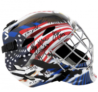 "1980 Team USA ""Miracle On Ice"" Full-Size Goalie Mask Team-Signed by (18) with Jim Craig, Mike Eruzione, Ken Morrow, Mark Wells (Schwartz COA) at PristineAuction.com"