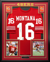 Joe Montana Signed 34.5x42.5 Custom Framed Jersey (JSA COA & Montana Hologram) at PristineAuction.com