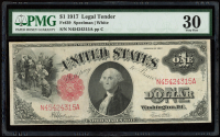 1917 $1 One-Dollar Red Seal U.S. Legal Tender Large-Size Bank Note (PMG 30) at PristineAuction.com