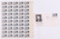 Uncut Sheet of (50) Unused 1964 John F. Kennedy Stamps with First Day Issue Envelope at PristineAuction.com
