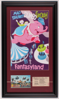 "Disneyland Fantasyland's ""Dumbo"" 15.5x26.5 Custom Framed Print Display with Vintage Postcard & 1960's Ride Ticket at PristineAuction.com"
