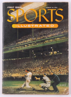 Original First Issue Sports Illustrated Magazine from August 16, 1954 with Uncut Sheet of 1954 Topps Baseball Card Inserts at PristineAuction.com