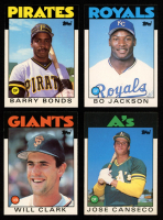 Lot of (4) 1986 Topps Traded Baseball Rookie Cards with #11T Barry Bonds RC, #24T Will Clark RC, #50T Bo Jackson RC & #20T Jose Canseco RC at PristineAuction.com