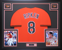 "Cal Ripken Jr. Signed 35x43 Custom Framed Jersey Inscribed ""HOF 83"" (JSA COA) at PristineAuction.com"