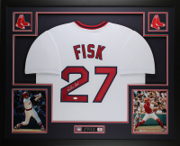 Carlton Fisk Signed 35x43 Custom Framed Jersey (JSA COA) at PristineAuction.com