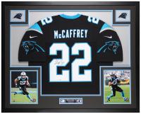 Christian McCaffrey Signed Panthers 35x43 Custom Framed Jersey (Fanatics Hologram) at PristineAuction.com