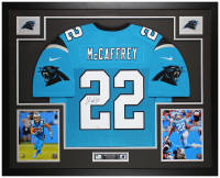 Christian McCaffrey Signed Panthers 35x43 Custom Framed Jersey (Fanatics Hologram) at PristineAuction.com