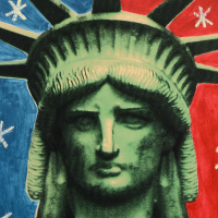 "Steve Kaufman Signed ""Liberty Head"" 24x24 Hand Painted Unique Variation Hand Pulled Silkscreen on Canvas #48/50 at PristineAuction.com"