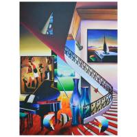 """Ferjo Signed """"Piano Music with Vases"""" 40x30 Original Painting on Canvas at PristineAuction.com"""