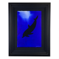 "Wyland Signed ""Dolphin"" 25x33 Custom Framed Original Painting at PristineAuction.com"
