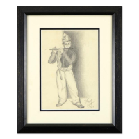 Neal Doty Signed 13x16 Custom Framed Original Drawing Dated 1969 at PristineAuction.com