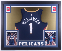 Zion Williamson Signed 35x43 Custom Framed Jersey Display (Fanatics) at PristineAuction.com