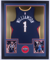 Zion Williamson Signed 35x43 Custom Framed Jersey Display (Fanatics) (Imperfect) at PristineAuction.com