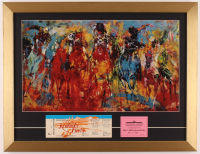 """Leroy Neiman """"Kentucky Derby"""" 17x22 Custom Framed Print Display With 1982 Kentucky Derby Ticket & Stable Pass at PristineAuction.com"""