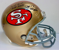 Joe Montana, Jerry Rice, & Steve Young Signed 49ers Full-Size Helmet with Hall of Fame Inscriptions (Radtke COA & Rice Hologram) at PristineAuction.com