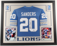 Barry Sanders Signed 35x43 Custom Framed Jersey (Beckett COA & Schwartz Hologram) at PristineAuction.com