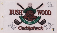 """Chevy Chase, Cindy Morgan, & Michael O'Keefe Signed """"Caddyshack"""" Bushwood Country Club Pin Flag Inscribed """"Noonan"""" & """"Love Lacey"""" (Schwartz COA & Chase Hologram) at PristineAuction.com"""