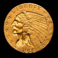 1908 $2.50 Indian Head Quarter Eagle Gold Coin at PristineAuction.com