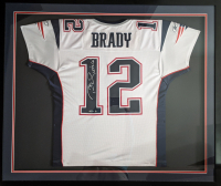 "Tom Brady Signed Patriots 38x45 Custom Framed Game-Used Jersey Inscribed ""Let's Go!"" (Mears LOO - A5 & TriStar Hologram) at PristineAuction.com"