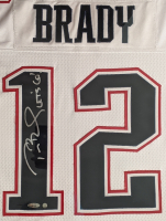 """Tom Brady Signed Patriots 38x45 Custom Framed Game-Used Jersey Inscribed """"Let's Go!"""" (Mears LOO - A5 & TriStar Hologram) at PristineAuction.com"""
