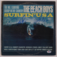 "Al Jardine, Mike Love & Brian Wilson Signed The Beach Boys ""Surfin' USA"" Vinyl Record Album Cover (PSA LOA) at PristineAuction.com"