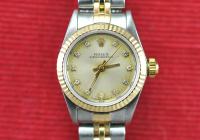 Rolex Diamond Oyster Perpetual Date Women's Wristwatch with Box & Papers at PristineAuction.com