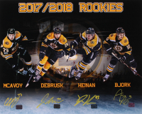 Boston Bruins 2017-2018 Rookies 16x20 Photo Signed By (4) with Charlie McAvoy, Jake DeBrusk, Danton Heinen, & Anders Bjork (McAvoy COA, DeBrusk COA, Heinen COA, & Bjork COA) at PristineAuction.com