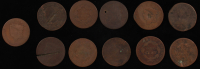 Lot of (11) Braided Hair Cent Large Cent Pennies at PristineAuction.com