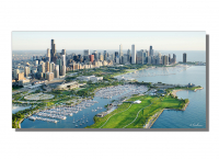 """Scott F. Signed """"Lakefront Aerial"""" 24x48 Giclee on Metal at PristineAuction.com"""