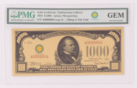 """1934 $1000 One Thousand Dollars """"Smithsonian Edition"""" Gold Certificate (PMG Gem Uncirculated) at PristineAuction.com"""