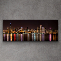 """Scott F. Signed """"Chicago Night Skyline"""" 20x48 Giclee on Metal at PristineAuction.com"""