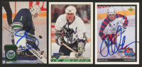 Lot of (3) Signed Hartford Whaler Hockey Cards with Sean Burke, Brad McCrimmon & John Cullen (YSMS COA) at PristineAuction.com