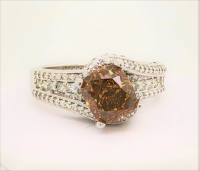 4.03ct Fancy Orange-Brown & White Diamond Ring 14kt Gold (GIA Certified) at PristineAuction.com